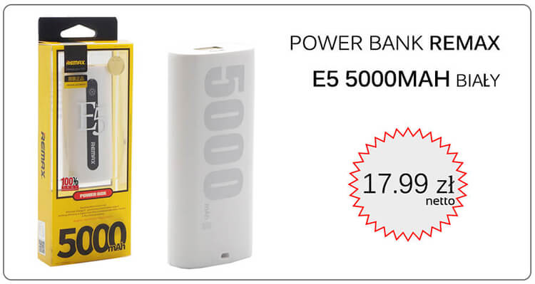 POWER BANK REMAX E5 5000MAH BIAŁY