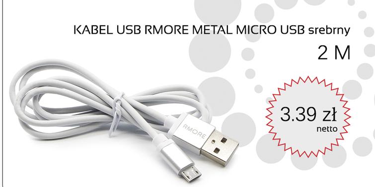 KABEL USB RMORE METAL MICRO USB SREBRNY 2M
