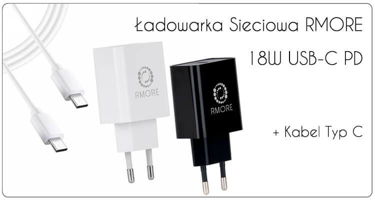 ŁADOWARKA SIECIOWA RMORE 18W USB-C PD + KABEL USB-C TYP C