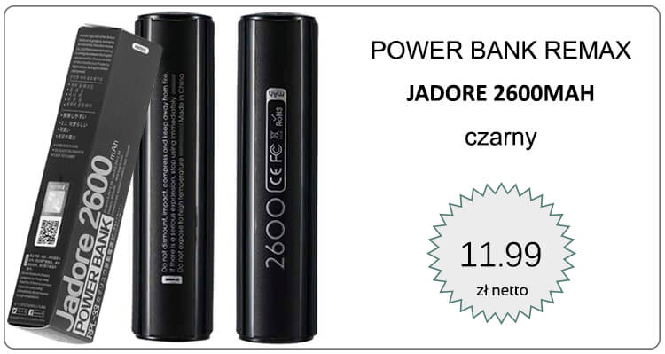 POWER BANK REMAX JADORE 2600MAH CZARNY
